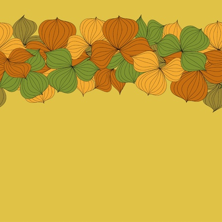 Vector seamless doodle border frame of autumn leaves Vector