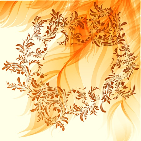Warm abstract background with vintage frame Illustration