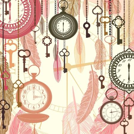 orologi antichi: Vettore sfondo Vintage con orologi da tasca e piume