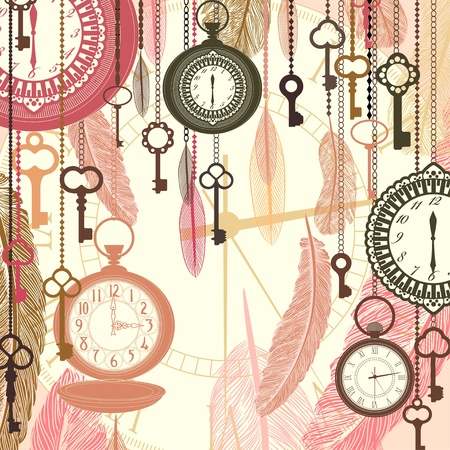 Vintage vector background with pocket watches and feathers Stock Vector - 17959208