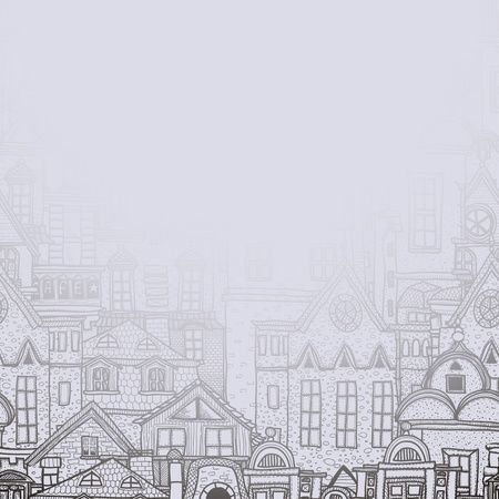 balcony view: Misty background with old town Illustration