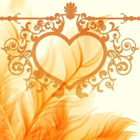feather quill: Vintage valentine background with wrought heart frame