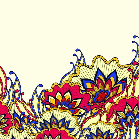 abstract backround: Spring abstract background with colorful handdrawn flowers