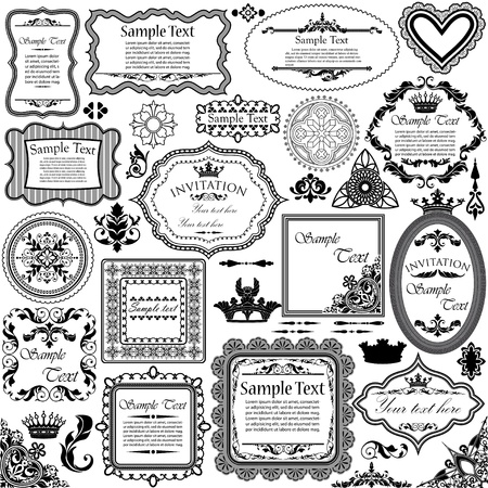 victorian anniversary: Vector set of calligraphic design elements and floral frames