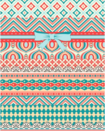 Set of patterns and stripes for scrapbooking Vector