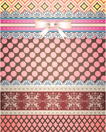 Set of patterns and borders for scrapbooking Vector
