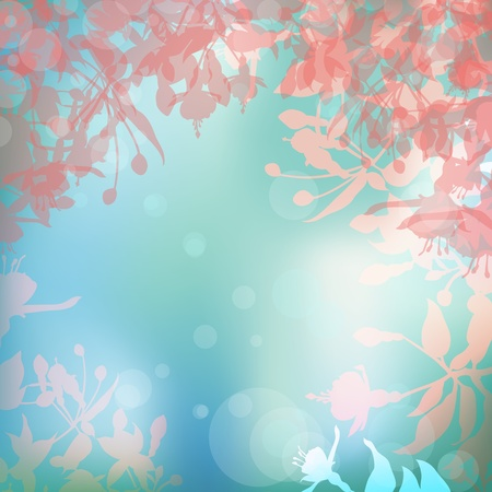 Abstract summer background with flowers silhouettes Stock Vector - 18403245