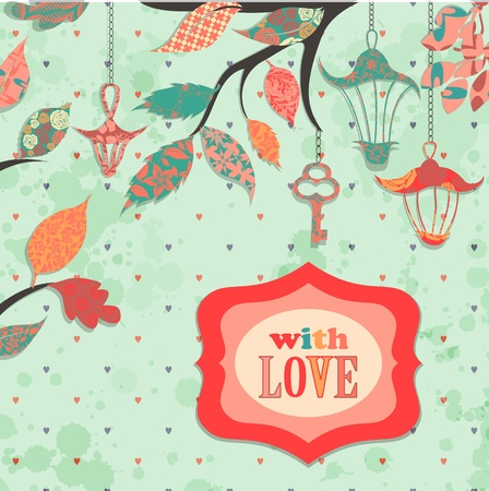 Scrapbooking background with patch branch and lanterns Vector