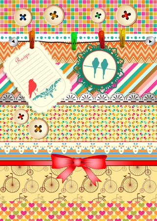 Set of patterns, frames and borders for scrapbooking