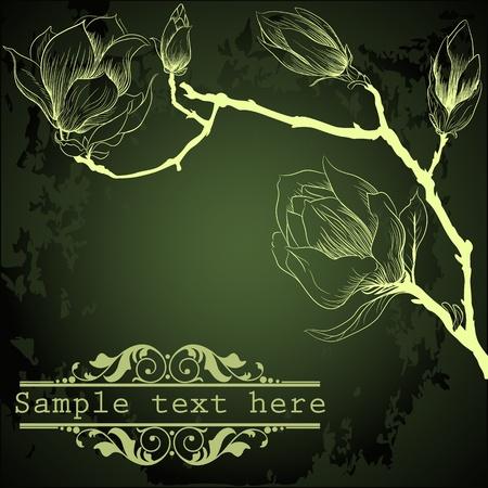 fondo verde oscuro: Fondo verde oscuro con flores de magnolia