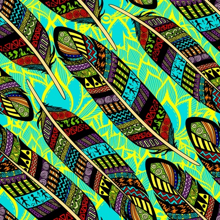 Vector seamless pattern with etno ornate colorful feathers
