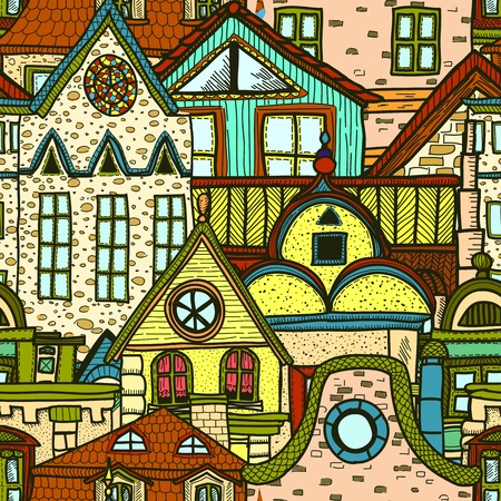 balcony view: Hand-drawn seamless pattern with old town