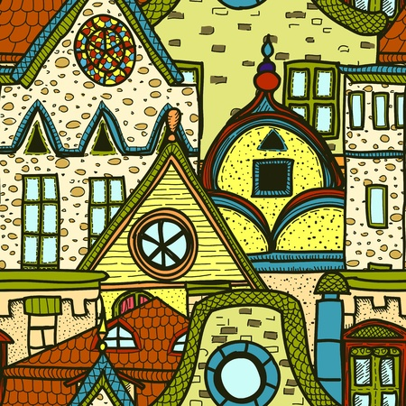 typical: Hand-drawn seamless pattern with old town
