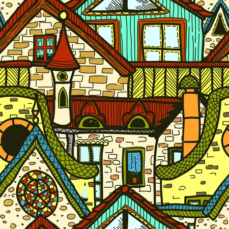 attic window: Hand-drawn seamless pattern with old town