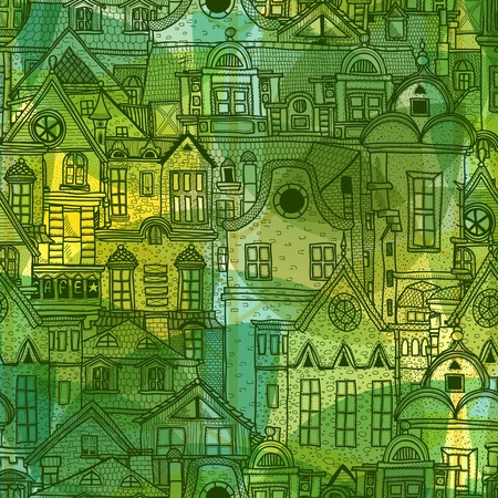 green roof: Spring abstract background with old town Stock Photo