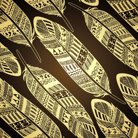 feather quill: Vector seamless pattern with etno ornate feathers