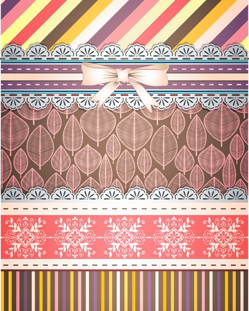 Set of patterns and borders for scrapbooking Stock Vector - 18512399