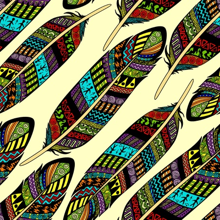 Vector seamless pattern with etno ornate colorful feathers Vector