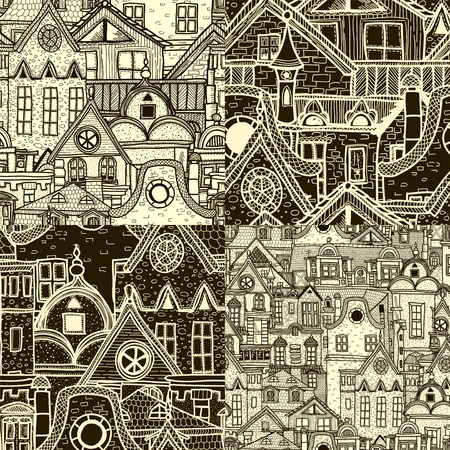 Set of seamless patterns with old town photo
