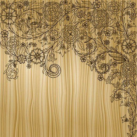 Vintage background with doodle flowers on wooden texture photo