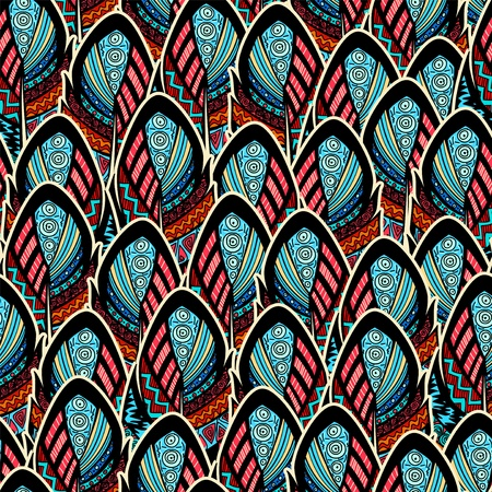african fabric: Seamless pattern with ornate feathers Stock Photo
