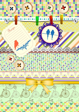 Set of patterns, frames and borders for scrapbooking Vector