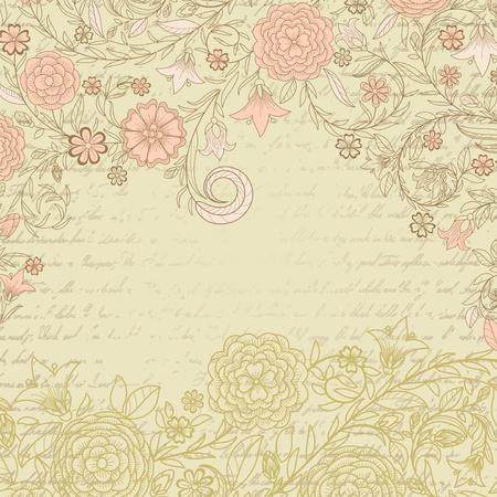 꽃과 편지와 함께 빈티지 지저분한 배경