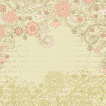 grungy background: Vintage grungy background with flowers and letter