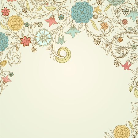 Vintage background with doodle flowers photo