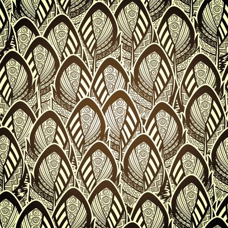 etno 화려한 깃털을 가진 벡터 원활한 패턴