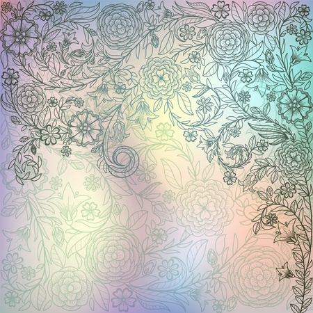 Luxury background with doodle flowers Vector