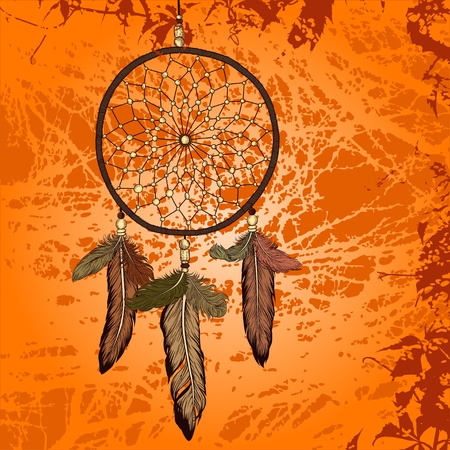 Bright vintage background with dream catcher vector Vector