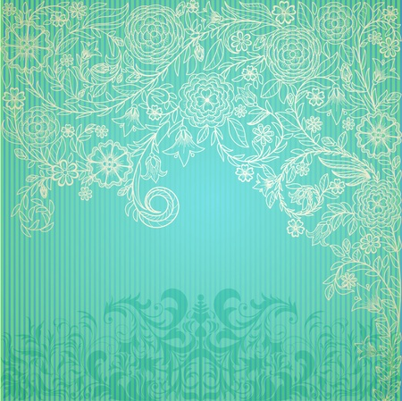 Vintage blue background with doodle flowers photo