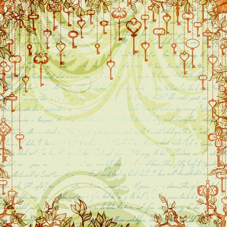 antique keys: Abstract vintage background with antique keys hanging on tree