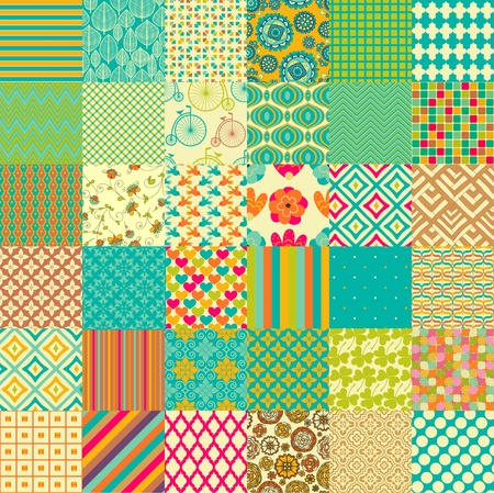 fabric swatch: Set of seamless childish patterns Illustration