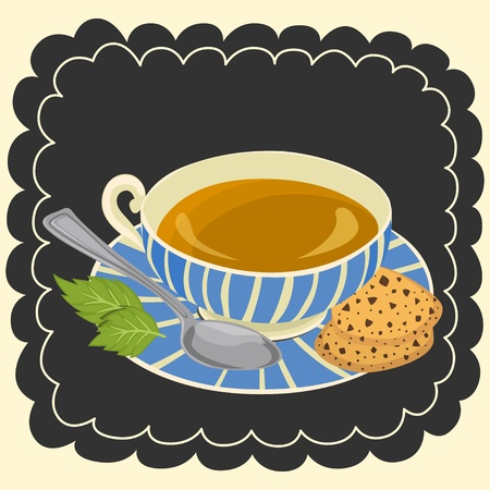 chocolate mint: Cup of tea and cookie  Illustration