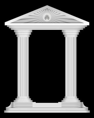 greco: Antique roman temple frame for design
