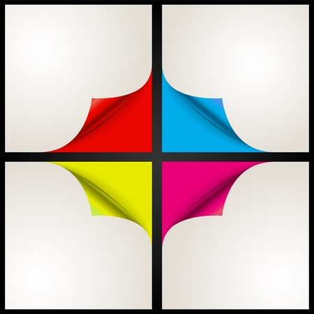 Set of four paper corner Vector