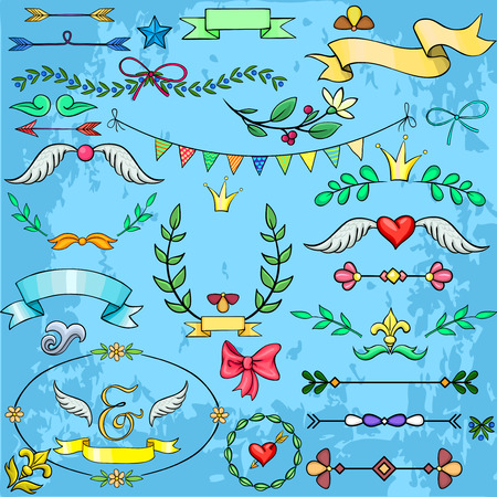 Collection of cartoon design elements for weddings, invitations, postcards Vector