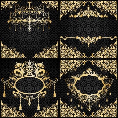 Luxury invitation setin black and gold Vector