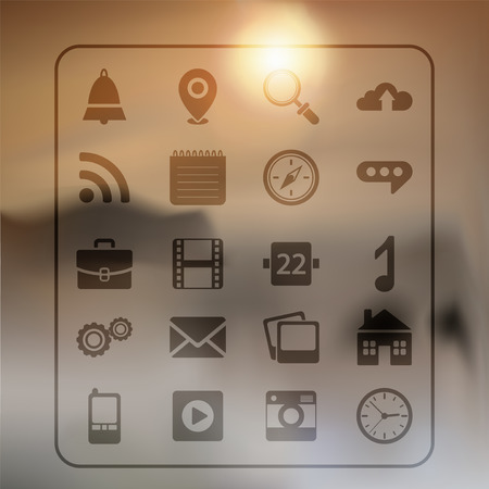 mobile apps: Abstract background and set of web buttons for mobile apps Illustration