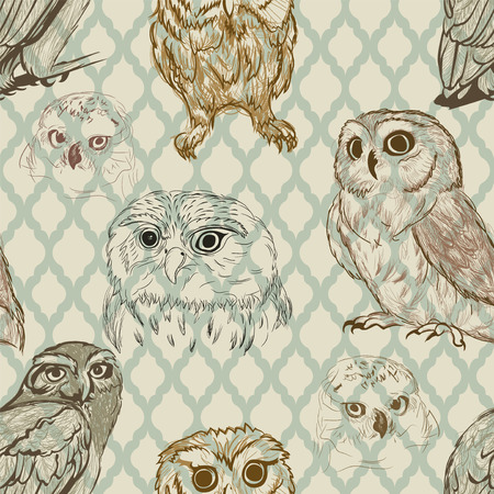 Seamless background with retro owl sketches Vector
