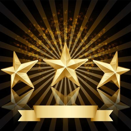 gouden ster: Gold star award vector achtergrond Stock Illustratie