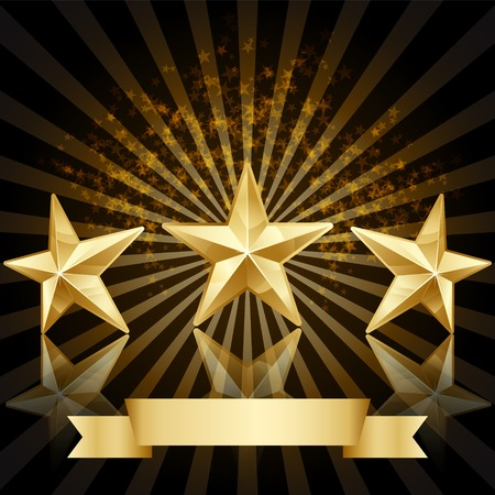 Gold star award vector background