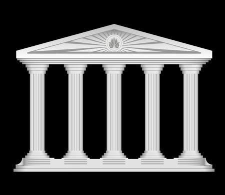 corinthian: Antique roman temple stylized vector background