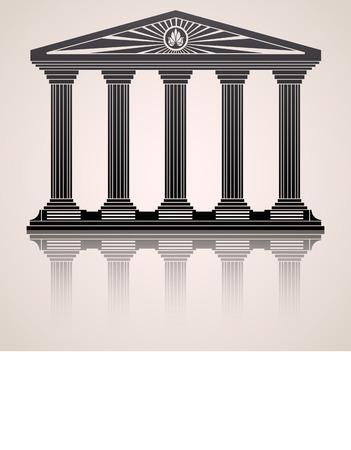 Antike römische Tempel stilisierte Vektor-Hintergrund