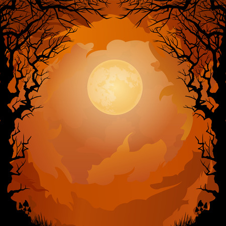 halloween tree: Moonlight Halloween background