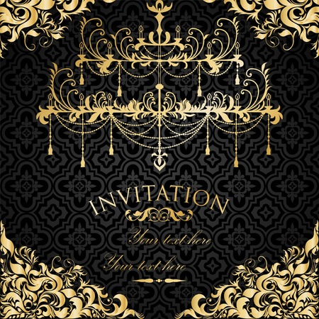 Luxury invitation with chandelier Vector
