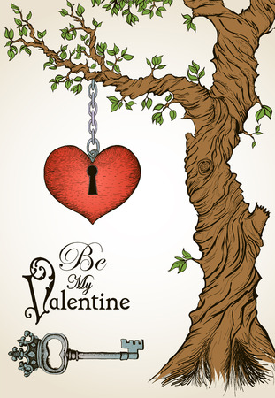 key chain: Valentine card with a heart hanging on tree and antique key