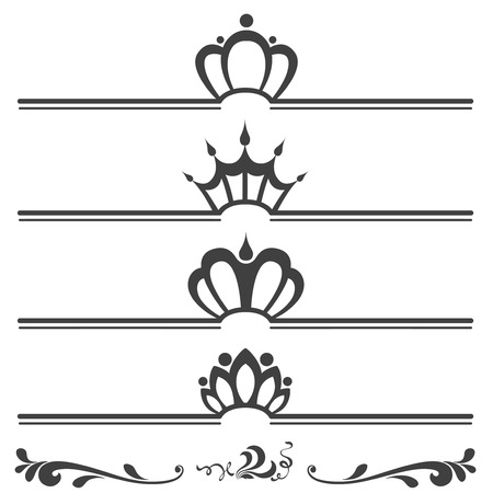 black princess: Collection of vintage text headers with crowns